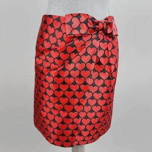 J. Crew Red Bow Wrap Skirt in Jacquard Hearts 4